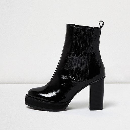 Black patent platform heel Chelsea boots