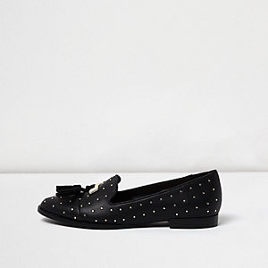 Black studded tassel loafers