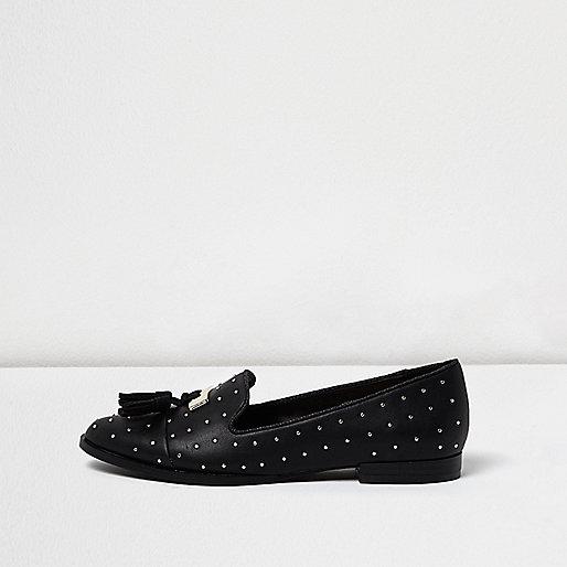 Schwarze Quastenloafer mit Nieten