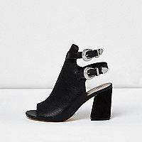 Black Western double buckle shoe boots