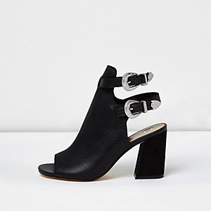 Black Western double buckle shoe boots