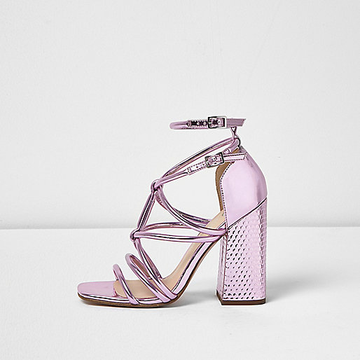 Metallic pink strappy block heel sandals