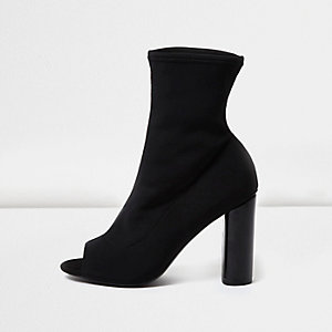 Black peep toe sock boots