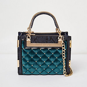 Blue quilted velvet stud mini tote bag