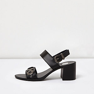 Black heeled leather sandals