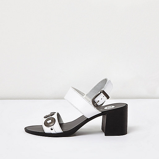 White heeled leather sandals