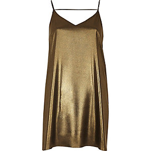 Gold strap back cami dress