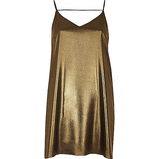 Gold strap back cami dress