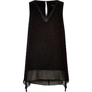 Black layered chiffon tank