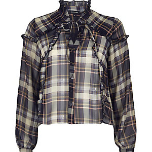 Blue check blouse with frill