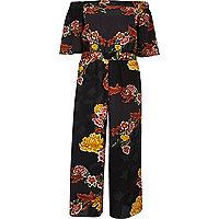 Black floral print bardot frill jumpsuit