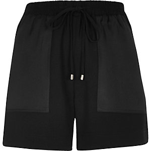 Black soft woven combat shorts