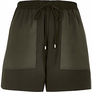 Khaki soft woven combat shorts
