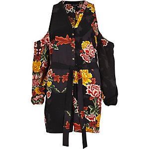 Black floral print cold shoulder romper
