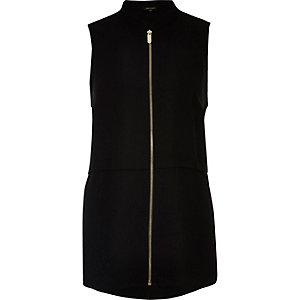Black sleeveless zip front shirt