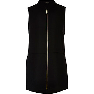 Black sleeveless zip front shirt