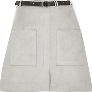 Light grey belted pocket mini skirt