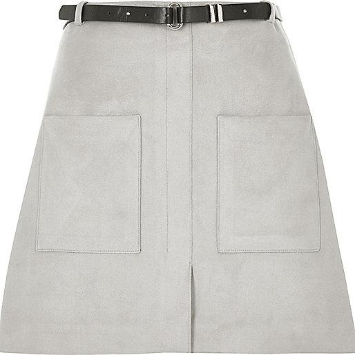 Light grey belted pocket mini skirt