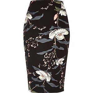 Black floral print long length pencil skirt