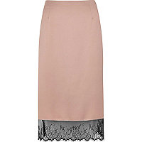 Light pink lace hem pencil skirt