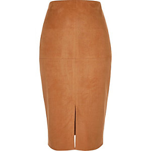 Tan faux suede pencil skirt