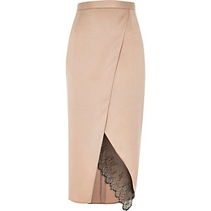 Light pink lace hem wrap midi skirt