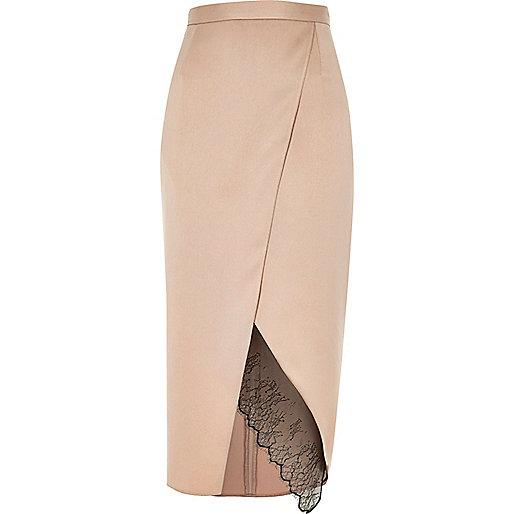Light pink lace hem wrap midi skirt
