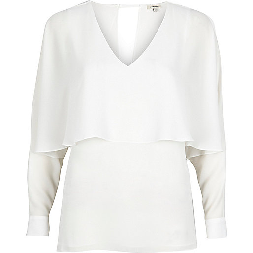 Top style cape blanc à manches ange