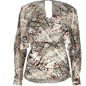 Snakeskin print angel cape top