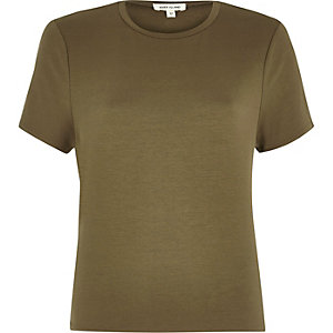 Khaki green tie back T-shirt