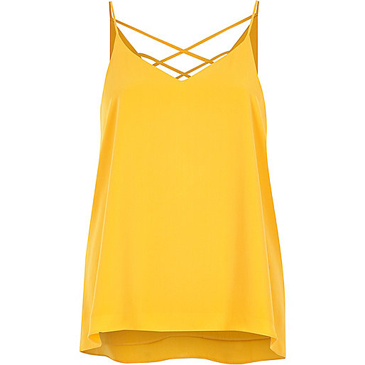 Caraco jaune à bretelles