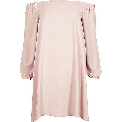 Light pink bardot swing dress