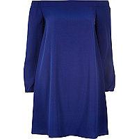 Blaues, schulterfreies Swing-Kleid