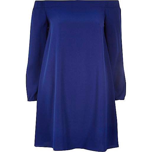 Blue bardot swing dress