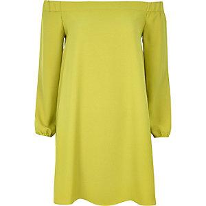 Lime bardot swing dress