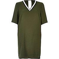 Khaki contrast trim swing dress