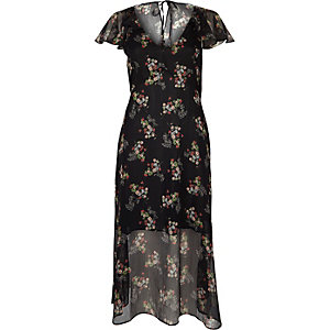 Black floral print cape frill dress