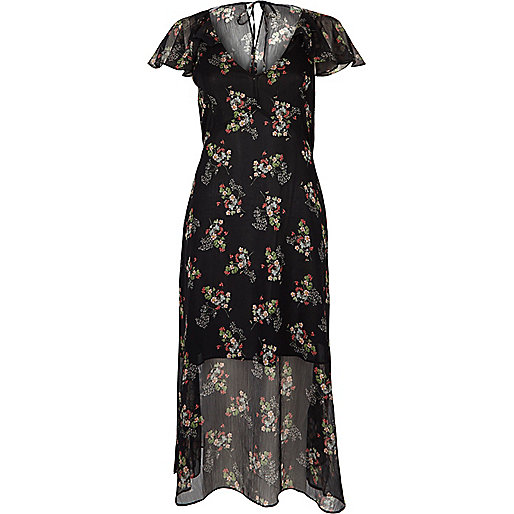 Black floral print cape frill dress