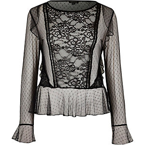 Black mesh lace top