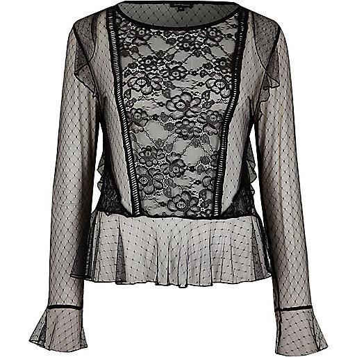 Black mesh lace top
