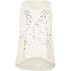 RI Plus cream studded Western tank top