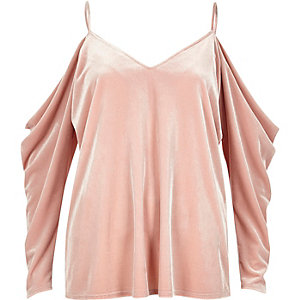 Pink velvet ruched cold shoulder top