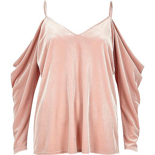 Pink velvet ruched cold shoulder top