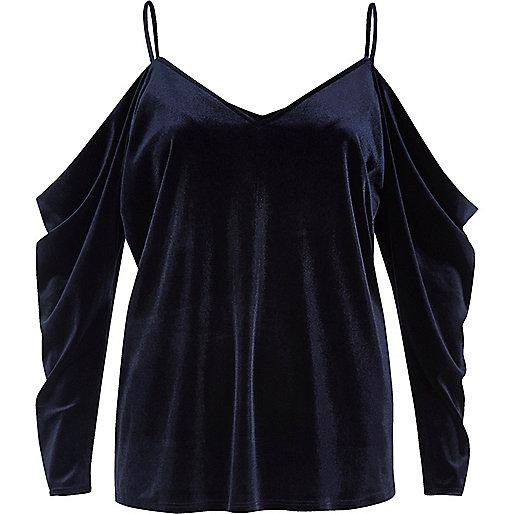 Navy velvet ruched cold shoulder top
