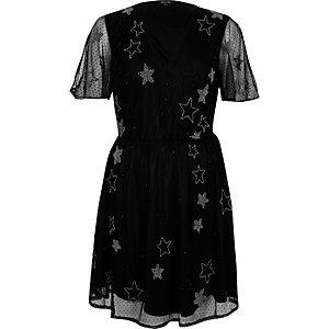Schwarzes Mesh-Kleid mit Sterndesign