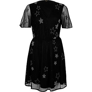 Black star embellished mesh dress
