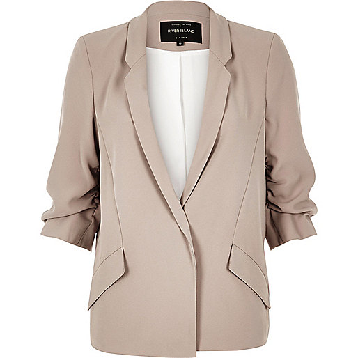 Dark beige ruched blazer