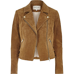 Tan suede biker jacket