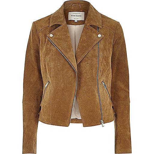 Tan suede biker jacket