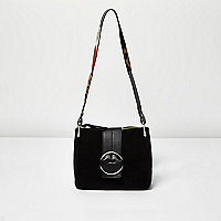 Black suede ring strap shoulder bag